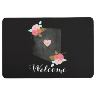 Chalkboard Arizona State Watercolor Floral Welcome Floor Mat