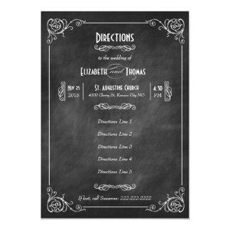 Chalkboard Art Deco Directions Insert Card 13 Cm X 18 Cm Invitation Card