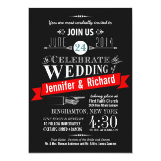 Chalkboard Art Deco Wedding Invitations
