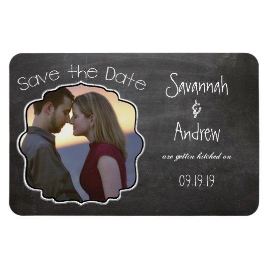 Chalkboard Art Wedding Save the Date Magnet