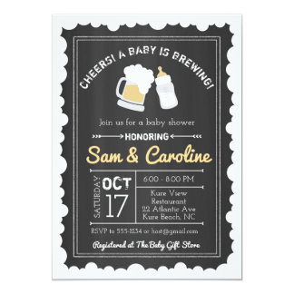 Chalkboard Baby is Brewing Baby Shower, Bubbles Card