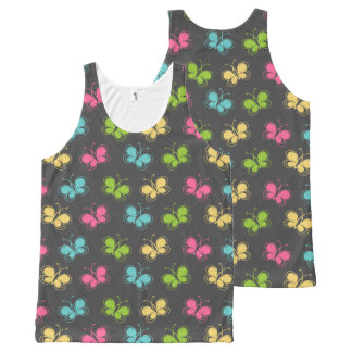 Chalkboard Background with Butterflies All-Over Print Tank Top