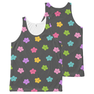Chalkboard Background with Flowers All-Over Print Tank Top