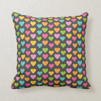 Chalkboard Background with Hearts Pattern Cushion