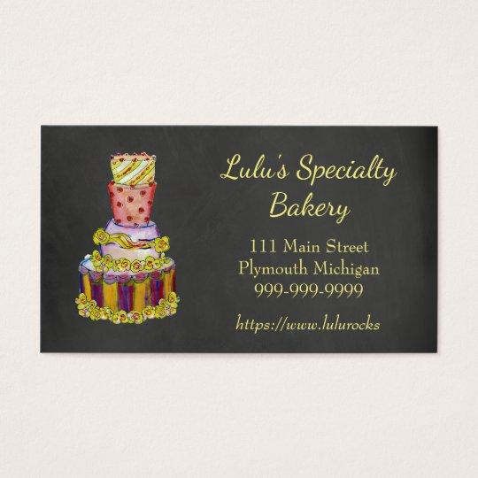 Chalkboard Bakery Business Card with Fancy Cake