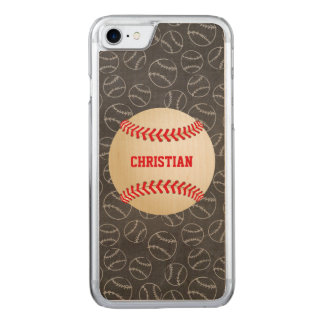 Chalkboard Baseball Pattern with Name and Baseball Carved iPhone 8/7 Case