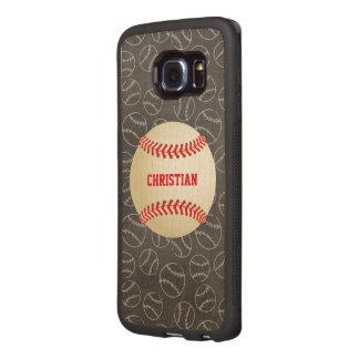 Chalkboard Baseball Pattern with Name and Baseball Wood Phone Case