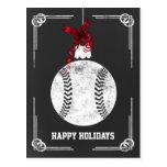 chalkboard baseball player Christmas Cards Post Cards