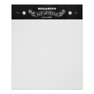 Chalkboard Bat Mitzvah Sign-In Poster