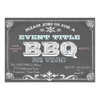 """Chalkboard BBQ Invitations 5"""" X 7"""" Invitation Card"""