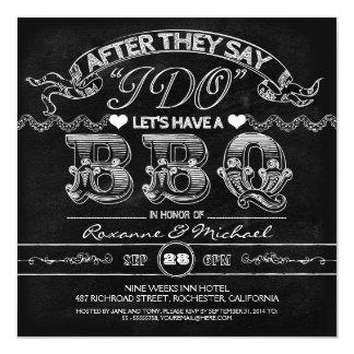 chalkboard BBQ stylish modern wedding invitation Announcement