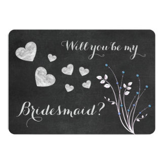 Chalkboard Beaded Floral Will You Be My Bridesmaid 13 Cm X 18 Cm Invitation Card