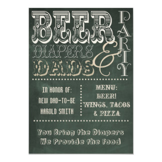 Chalkboard Beer Diapers and Dads Baby Shower 13 Cm X 18 Cm Invitation Card
