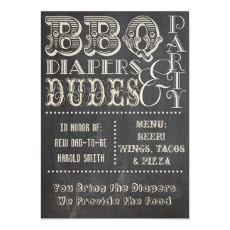 Chalkboard Beer Diapers and DUDES Baby Shower 2 13 Cm X 18 Cm Invitation Card