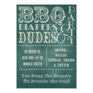 Chalkboard Beer Diapers and DUDES Baby Shower 3 Card