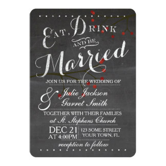 Chalkboard & Berries Wedding Invitation
