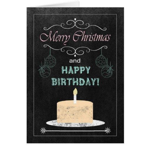 Chalkboard birthday on christmas card zazzle for Chalkboard christmas cards