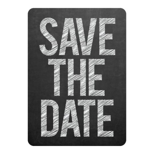 Chalkboard Black Board Save the Date Typography Card