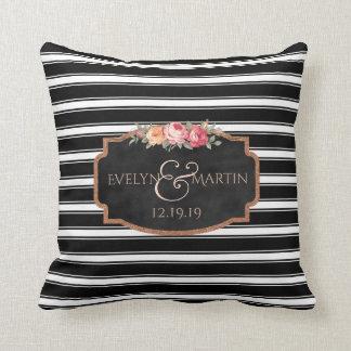 Chalkboard Black Stripes Monogram Wedding Keepsake Cushion