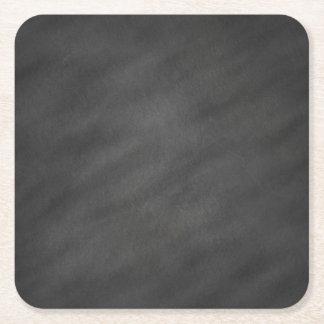 Chalkboard Blackboard Background Retro Style Square Paper Coaster
