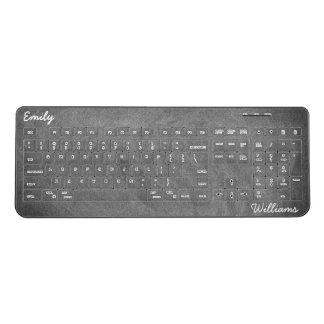 Chalkboard Blackboard Look Black and White Funny Wireless Keyboard