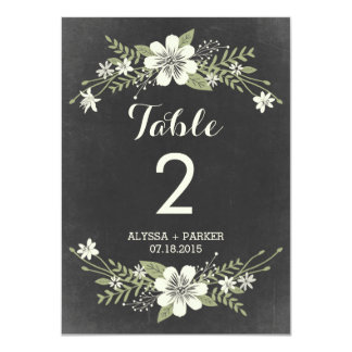 Chalkboard Blooms Double-Sided Table Number Card 11 Cm X 16 Cm Invitation Card