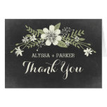 Chalkboard Blooms Wedding Thank You Card Cards