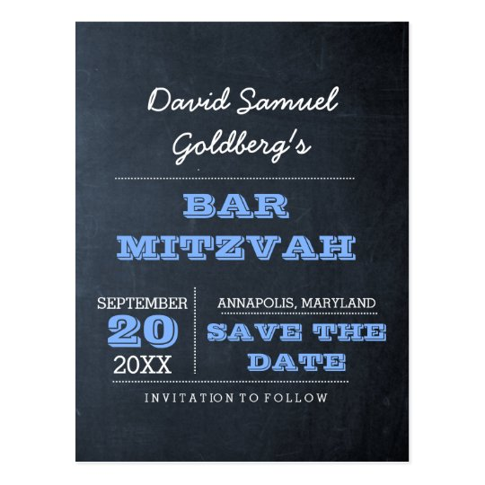 Chalkboard Blue Bar Mitzvah Save the Date Postcard