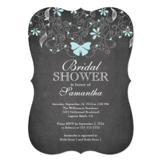 Chalkboard Blue Butterfly Floral Bridal Shower Personalized Announcement
