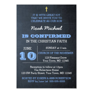 Chalkboard Blue Confirmation Invitation
