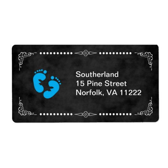 Chalkboard Blue Feet Baby Shower Address Label