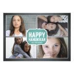 Chalkboard Blue Framed Hanukkah Photo Card