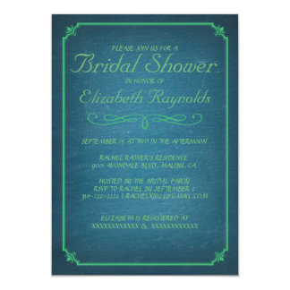 Chalkboard Blue & Green Bridal Shower Invitations