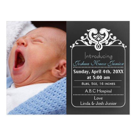 Chalkboard blue new baby boy photo announcement postcard