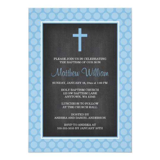 Chalkboard Blue Polka Dot Cross Boy Baptism Card