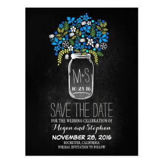 Chalkboard blue save the date - Floral Mason Jar Postcard