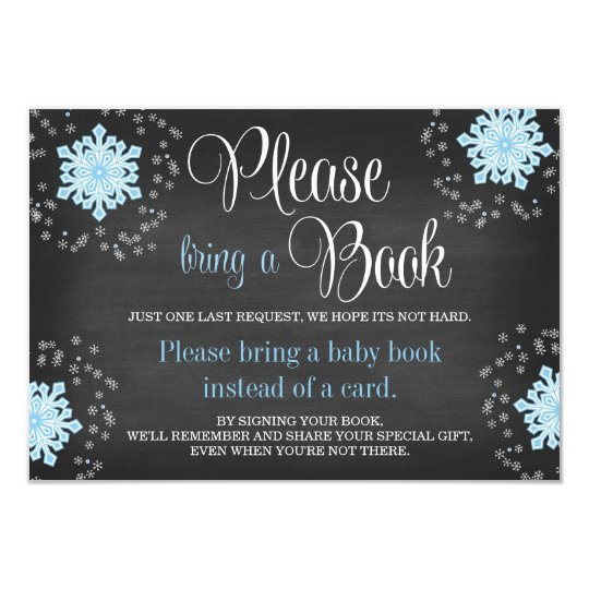 Chalkboard Blue Snowflake Baby Shower Bring a Book