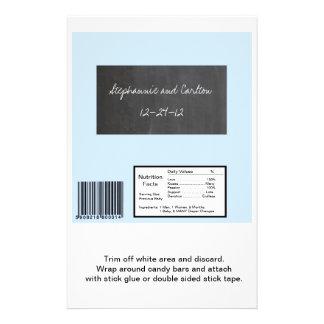 Chalkboard Blue Wedding Large Candy Wrapper 14 Cm X 21.5 Cm Flyer