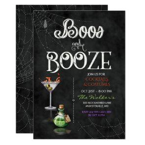Chalkboard Boos & Booze Halloween Cocktail Party Invitation