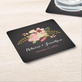 Chalkboard Botanical Flower Paper Coasters