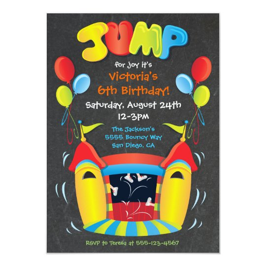 Chalkboard Bounce House BIrthday Party Invitation