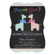 Chalkboard Boy or Girl Giraffe Gender Reveal Party