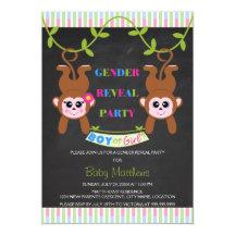 Chalkboard Boy or Girl Monkey Gender Reveal Party