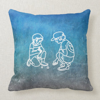 Chalkboard Boy Playing With Marbles Doodles Cushion