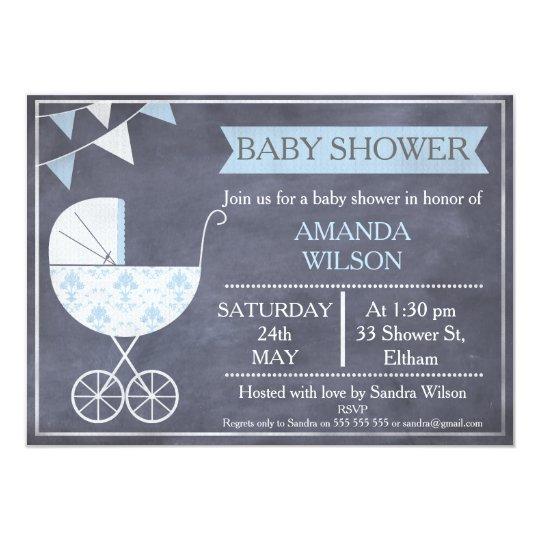Chalkboard Boys Pram Baby Shower Invitation