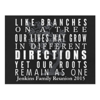 Chalkboard Branches Tree Family Reunion Invitation Postcard