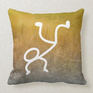 Chalkboard Breakdance Modern Doodles Mustard Cushion