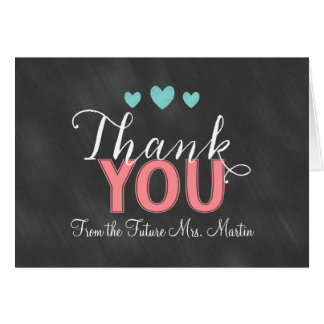 Chalkboard Bridal Shower Folded Thank You Card