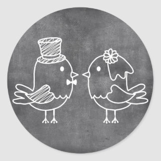 Chalkboard Bride and Groom Love Birds Stickers