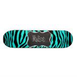 Chalkboard; Bright Turquoise Zebra Animal Print